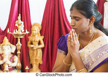 Indian woman praying - Woman hand folded during praying...