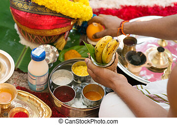 Traditional Indian Hindu religious praying ceremony