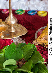 Traditional Indian Hindu religious praying items