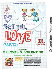 Vector school night party valentine's day. Template poster graphic