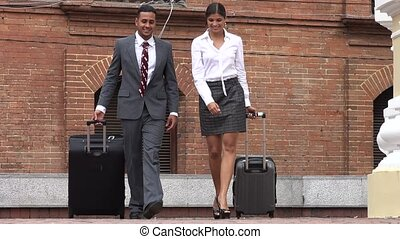 Business Man and Woman Walking