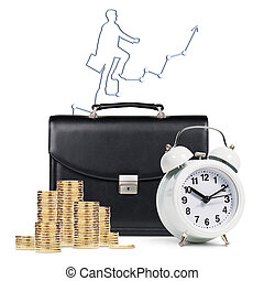 Alarm clock, briefcase, coins , map isolated - Classical...