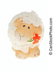 Easter sheep, photo on the white background