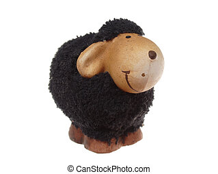 Black easter sheep, photo on the white background