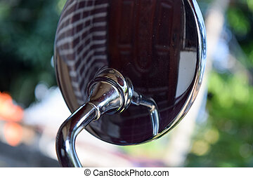 back of mirror of motorcycle with chrome style