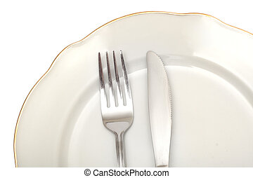 Plate - empty plate fork knife photo on the white