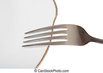 garfo, vazio, prato