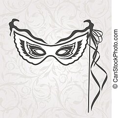 Venice Carnival or Theater Mask with Ribbons - Illustration...