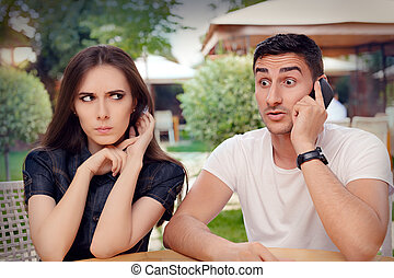 Angry Girl Listening to Phone Call - Unhappy girlfriend...