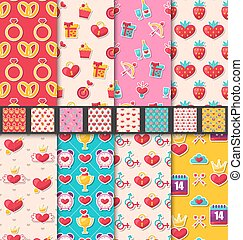Set Seamless Patterns for Valentines Day