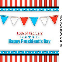 Brochure with Bunting Flags for Happy Presidents Day of USA