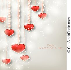 Glowing Background with Hanging Hearts for Valentine Day