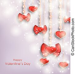 Shimmering Background with Hanging Hearts for Valentines Day