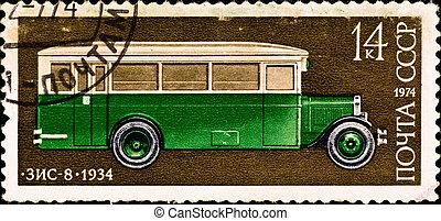 postage stamp shows vintage car - USSR - CIRCA 1974: postage...