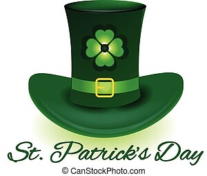 St. Patrick hat with four leaf clover icon background...