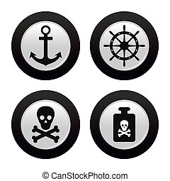 Pirate Objects - Abstract Pirate objects on a white...