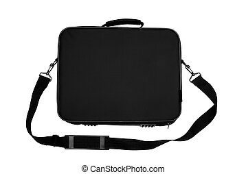 Black Nylon Laptop Carrying Case Isolated on white