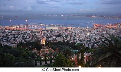 Sunset in Haifa taken from Bahai Garden, Israel