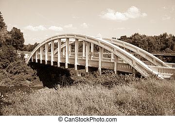 White concrete arch Bush Creek Bridge, Kansas, also known as...