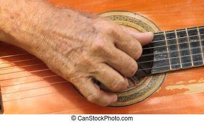 Hand Strumming Acoustic Guitar