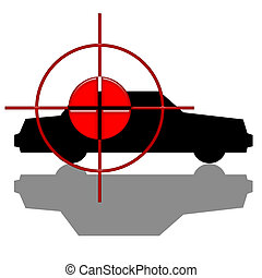 Attempted Act - Red target over black car silhouette with...