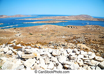 famous in delos old ruin site - in delos greece the...