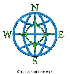 The Compass - Green abstract compass symbol and blue globe...