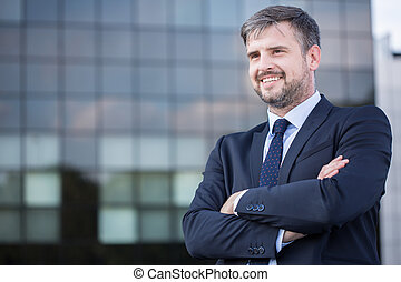 Confident businessman outdoor - Image of confident...