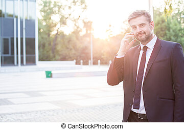 Modern entrepreneur with mobilephone