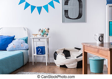 White and blue suit here well - Stylish boy room with bed,...