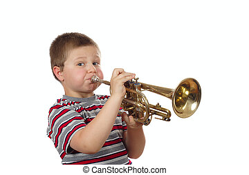 Boy Blowing Trumpet photo on the white background