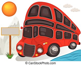 Double decker bus travel icon - Vector illustration of a...