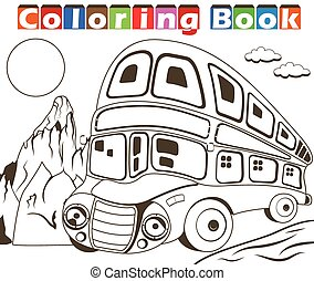 Double decker bus coloring book - Vector illustration of a...