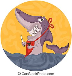 Cartoon hungry shark - Vector rounded illustration of a...