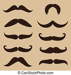 Set of mustache on retro style background, vector...