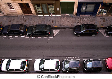 Parked Cars - Cars parked in a narrow Parisian backstreet,...