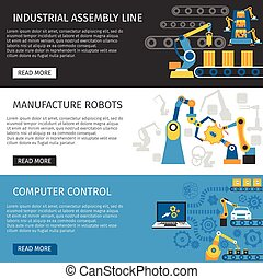 Industrial Assembly Line Flat Banners Set