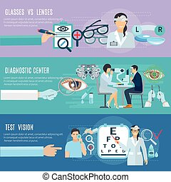 Oculist Diagnostic Center Flat Banners Set - Ophthalmologist...