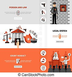 Legal Law System Flat Banners Set - Civil law legal system...