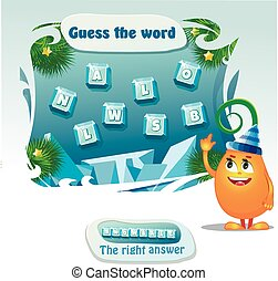 guess the word - Visual Game for children. Task: guess the...
