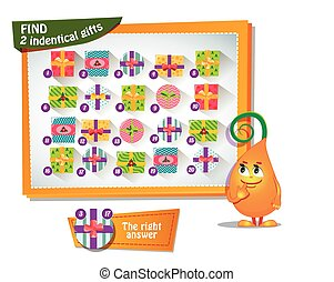 ind 2 identical gifts - Visual Game for children. Task: find...