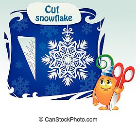 childs play cut snowflake - Visual Game for children. Task:...