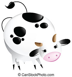 Cute vector glossy cow. Editable Vector Illustration