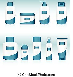 Set of 9 Cosmetic Containers. Editable Vector Image