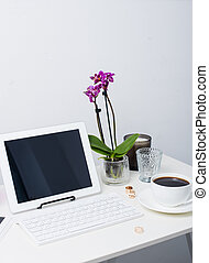 business woman workspace - Young business woman workspace,...