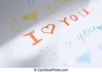 Love you - Paper with love you message Close-up view