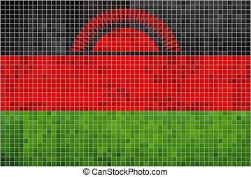 Flag of Malawi - Illustration, Abstract Mosaic Malawian...