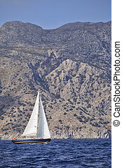 Yachting in Turkey - view of yacht and mountains from the...