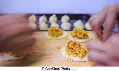 Womens Hands Shape Patties with Fried Cabbage - womens hands...