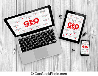 Geo targeting concept - Business concept: Devices witn geo...